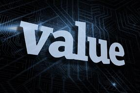 The word value against futuristic black and blue background